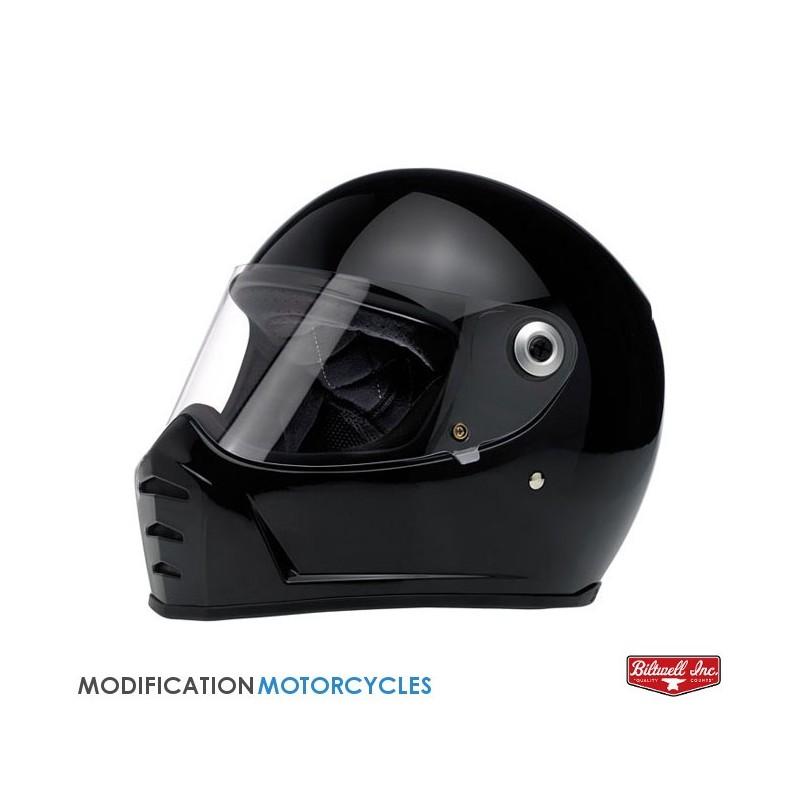 Ecran Bubble Jaune pour casque Bullit Patte noire pour moto Vintage