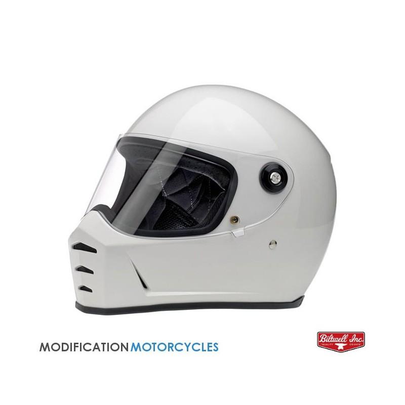 Ecran Plat Argent pour casque Bullit Patte noire pour moto Vintage