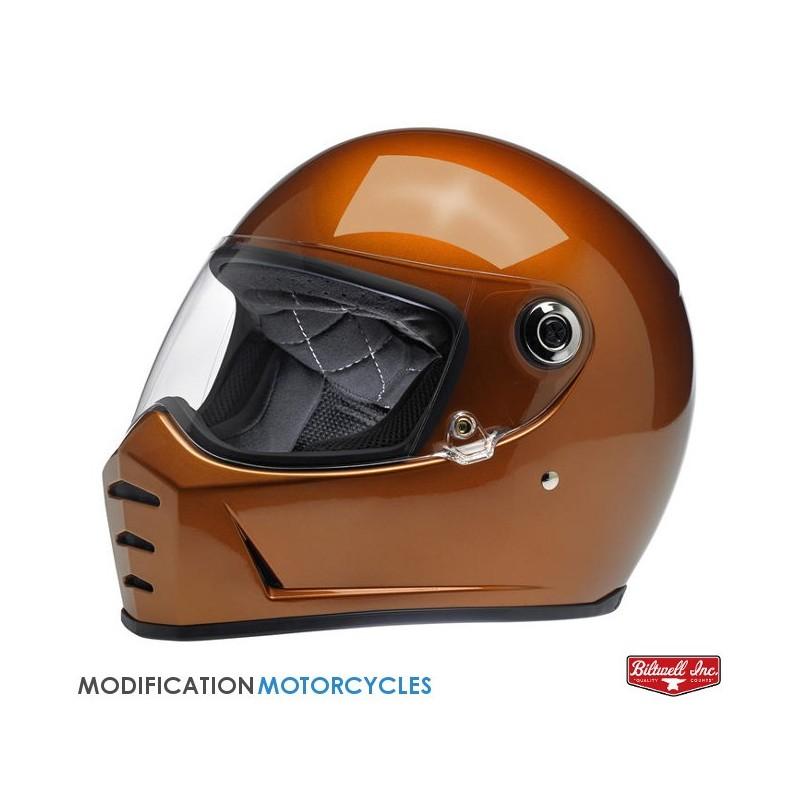 Ecran Plat Fumé Noir pour casque Bullit Patte noire pour moto Vintage